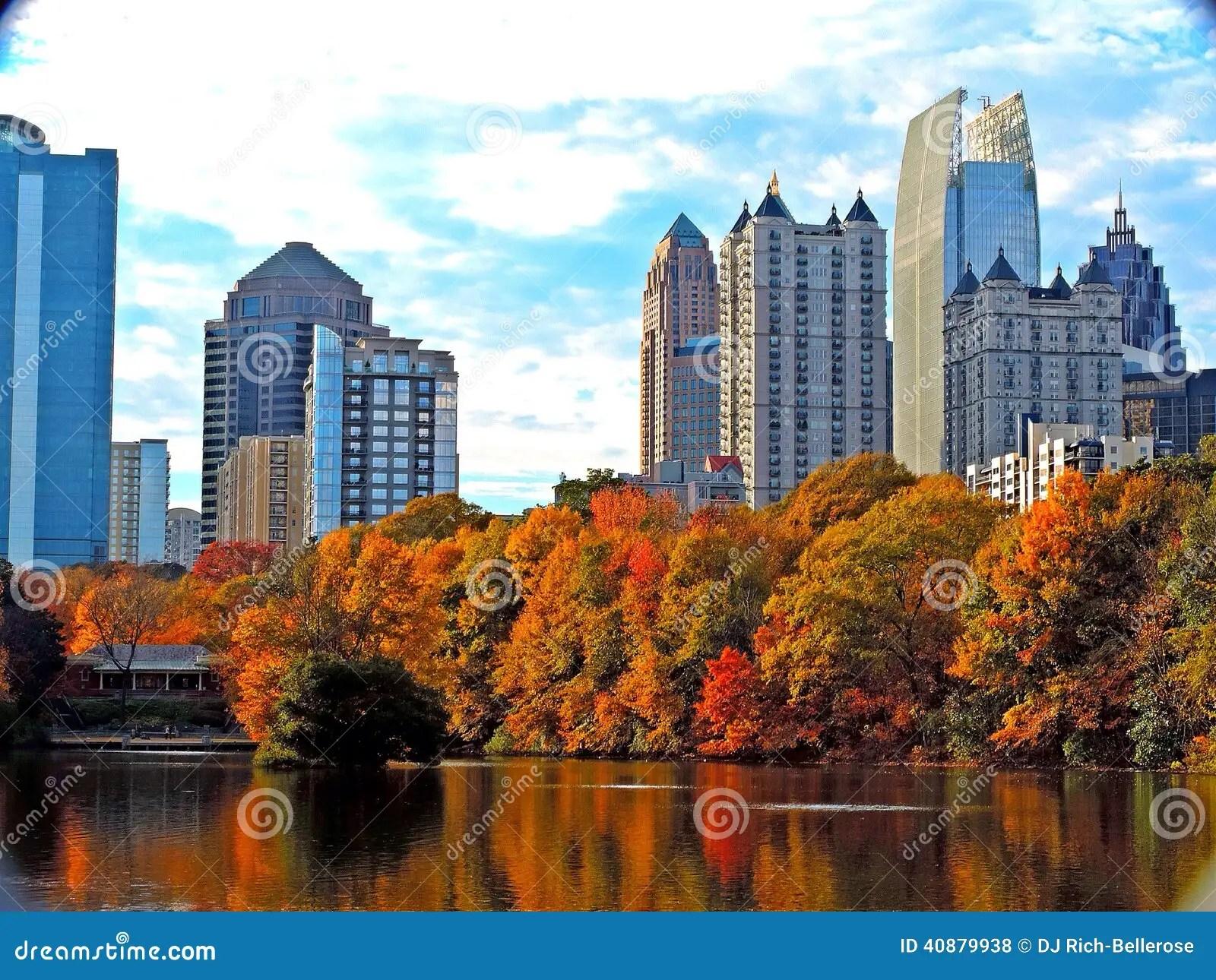 Free Hd Fall Desktop Wallpaper Atlanta Skyline Stock Photo Image 40879938