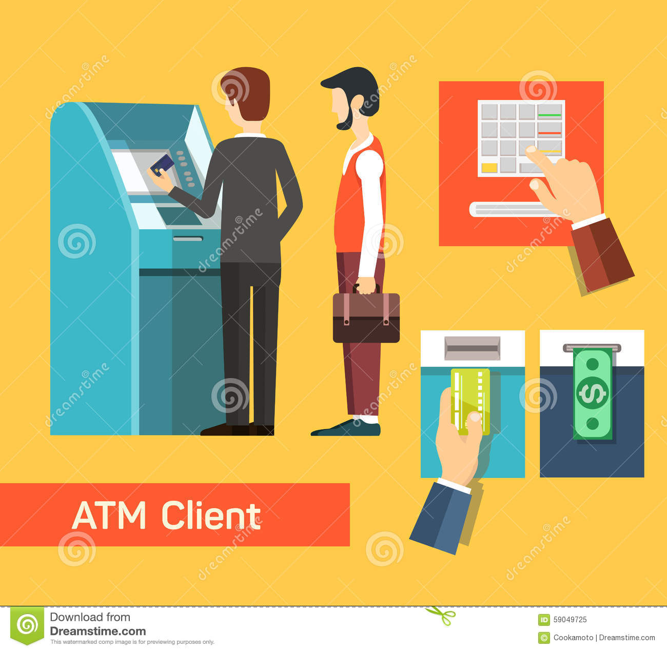 Atm Machine Money Deposit And Withdrawal Stock Vector