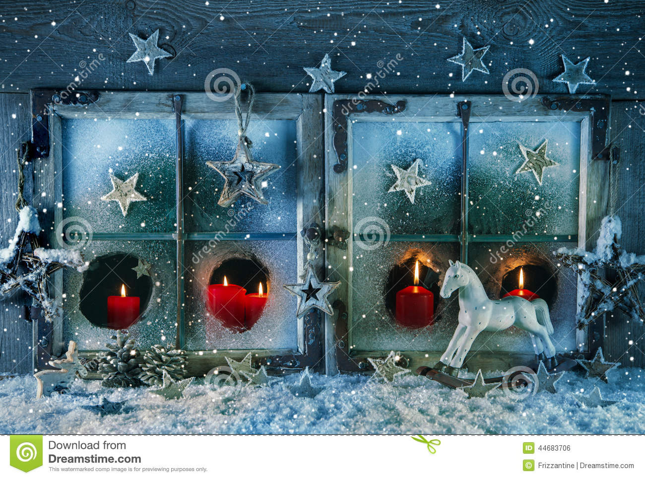 Atmospheric Christmas Window With Red Candles Outdoor With
