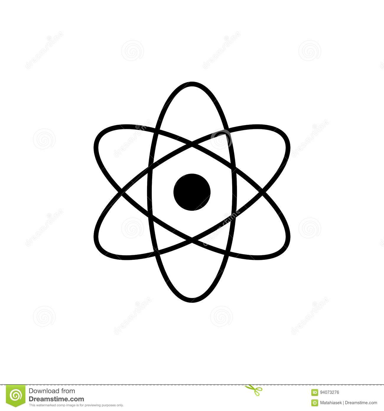 Atom Logo Science Sign Nuclear Icon Electrons And