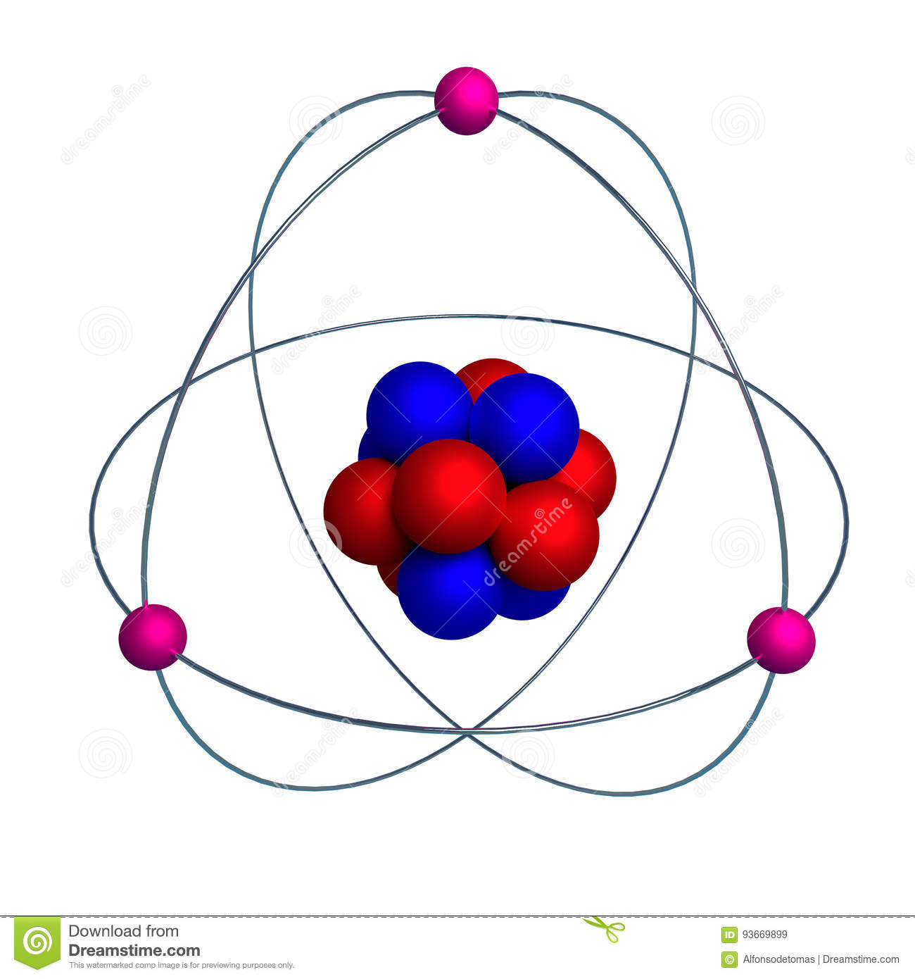 Atom Model With Proton Neutron And Electron Isolated On