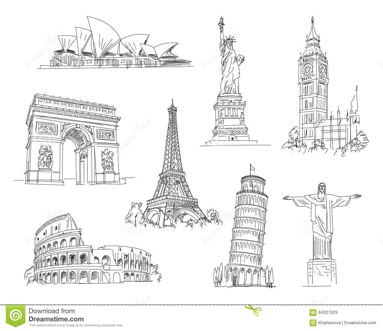 Attractions Of The World Stock Vector