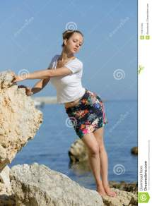 Attractive Girl Posing Leaning Hands Rocky Seashore
