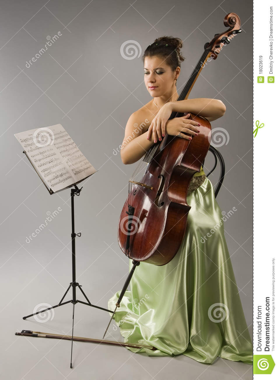 Attractive Woman With Cello Stock Image  Image 18023619