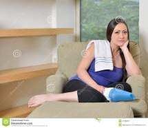 Attractive Woman Home - Cleaning Tired Stock