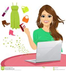 shopping card woman credit buying laptop using attractive some goods vector
