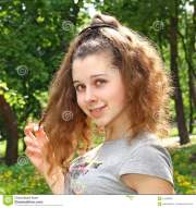 attractive young girl with funny