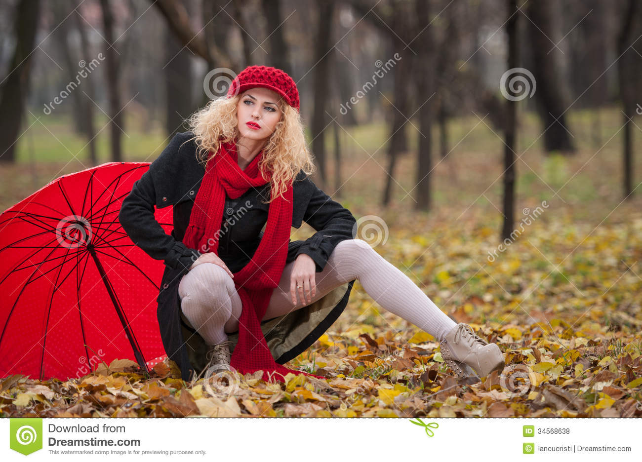 Attractive Young Woman In A Autumn Fashion Shoot