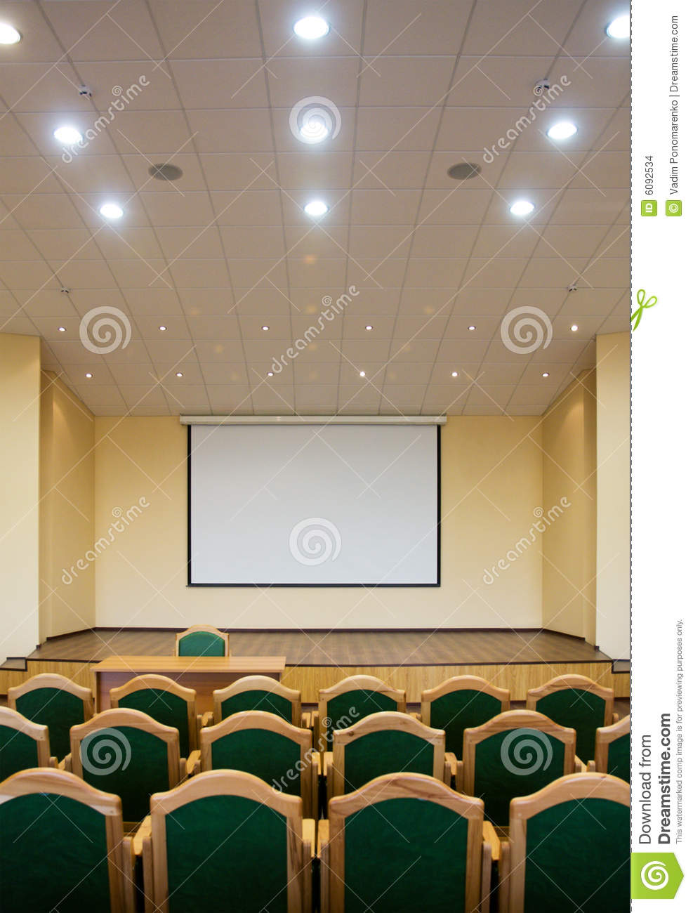 office chair rowing antique folding rocking auditorium hall with projection screen stock images - image: 6092534