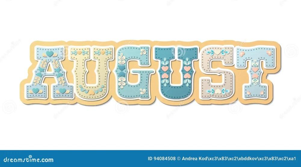medium resolution of august illustrated name of calendar month illustration