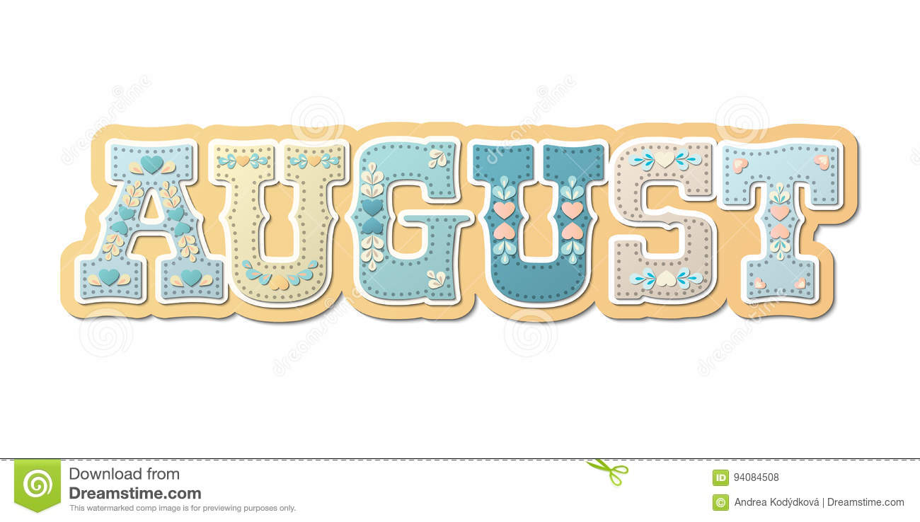 hight resolution of august illustrated name of calendar month illustration