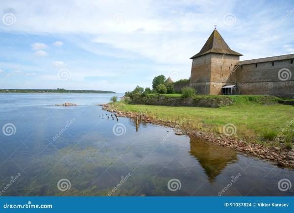 august landscape with river neva