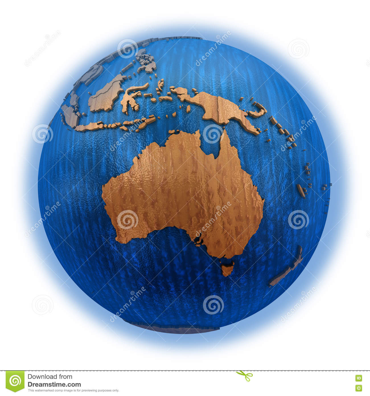hight resolution of australia on wooden model of planet earth with embossed continents and visible country borders 3d illustration isolated on white background