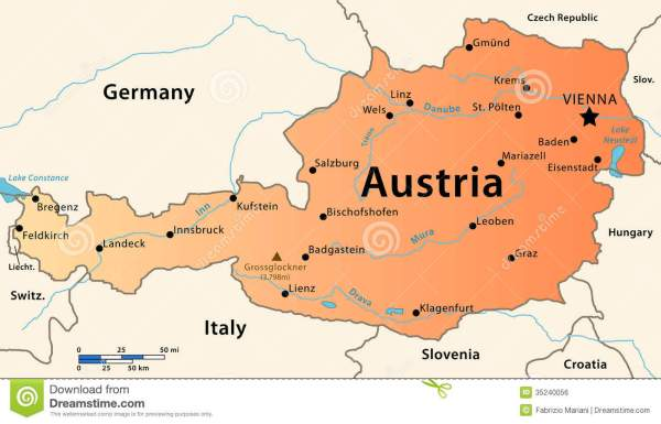 Austria map stock illustration Illustration of austria