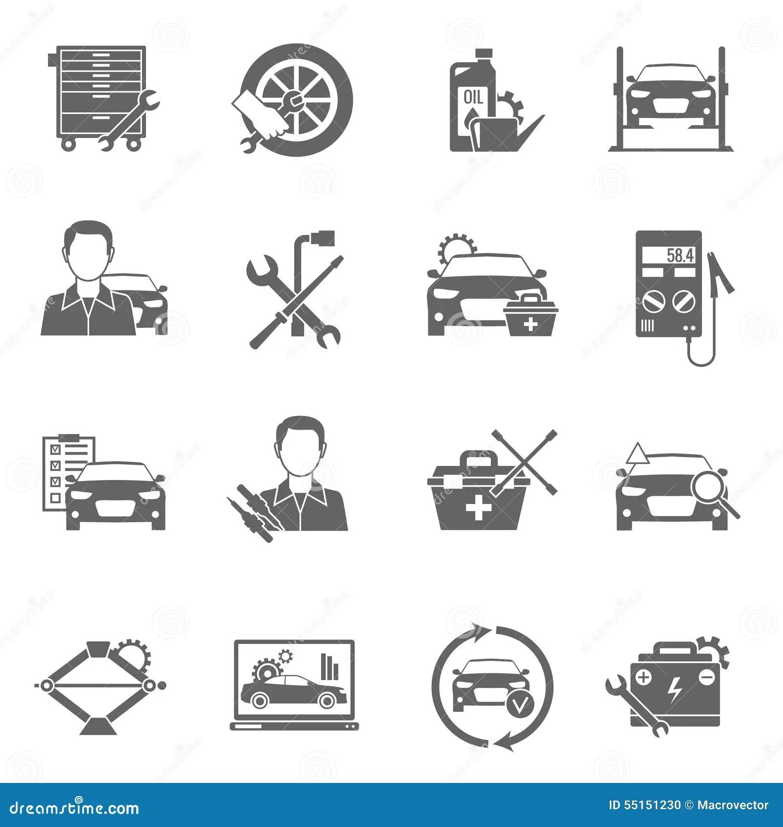 Auto Mechanic Icons Set Stock Vector