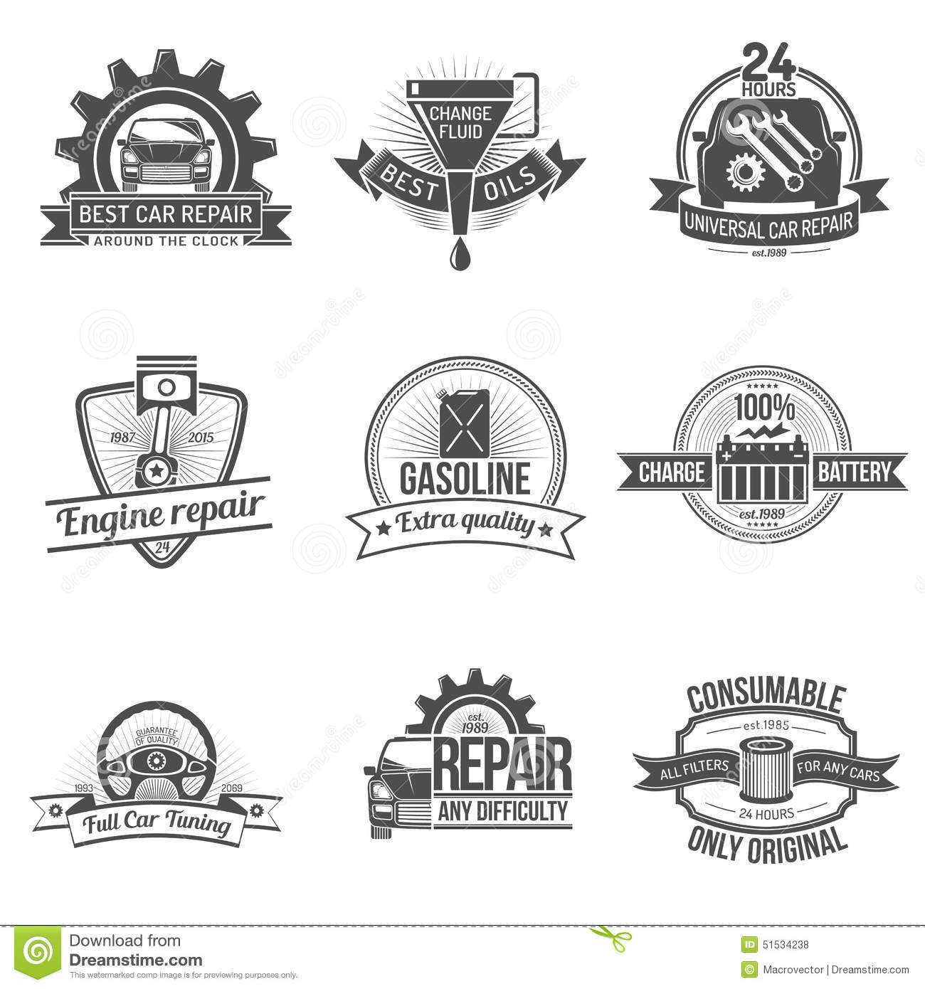 Auto Service Emblem Stock Vector Illustration Of Seal