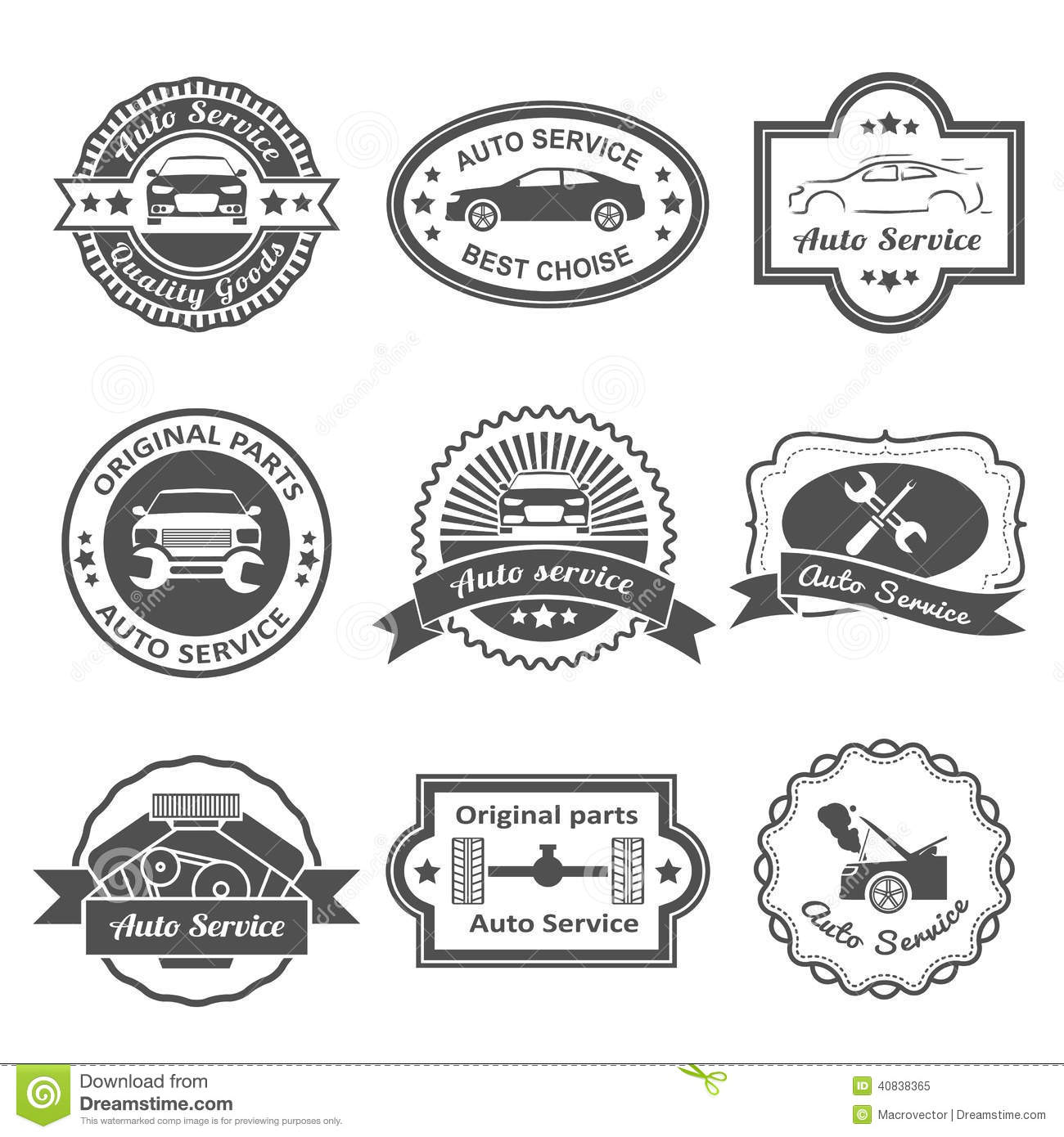 Auto Service Labels Stock Vector