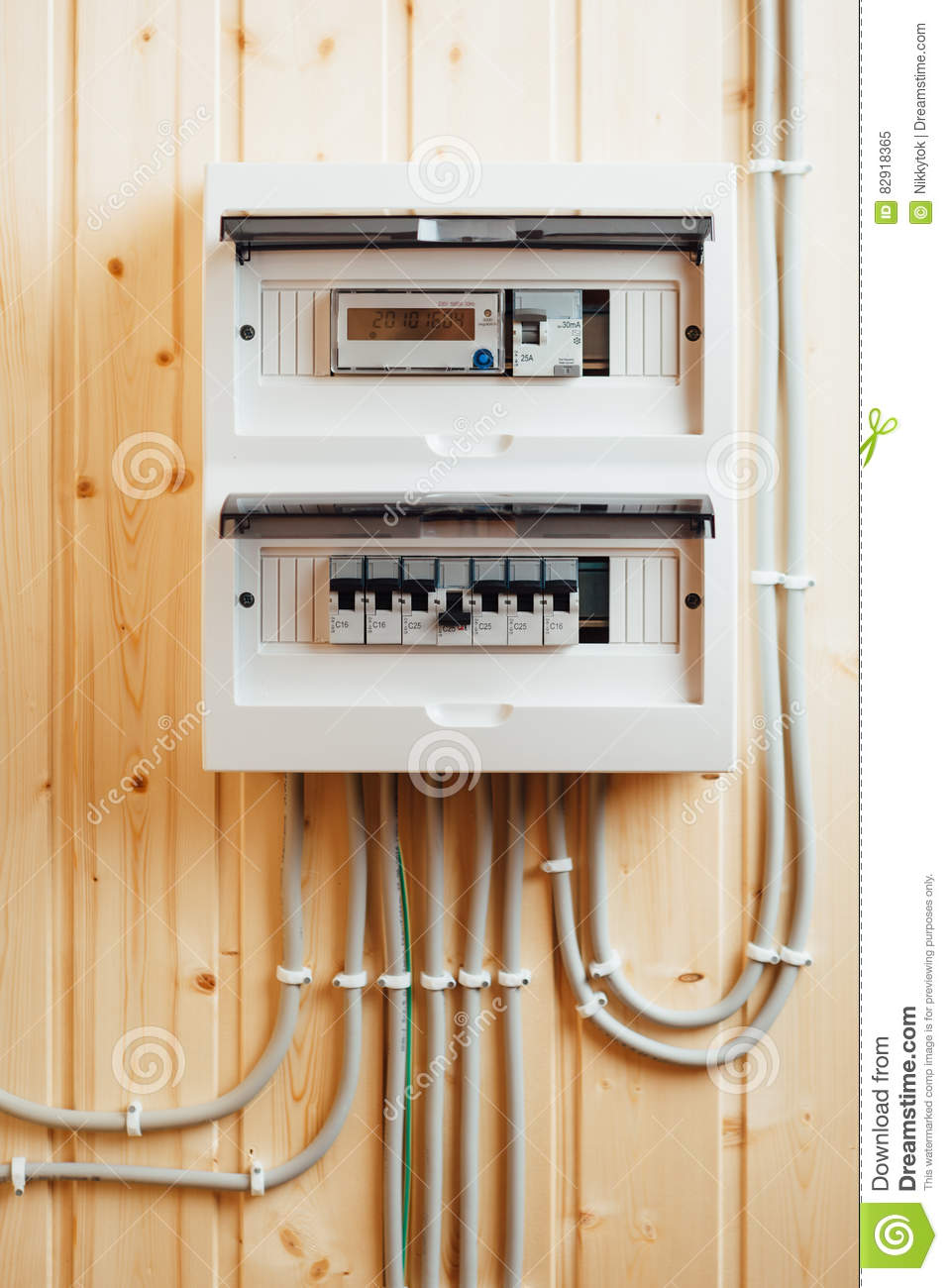 hight resolution of automatic fuses in electricity distribution box inside wooden house