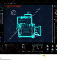automobile technology making engine parts gathered x ray top view in digital display panel user interface  [ 1300 x 821 Pixel ]