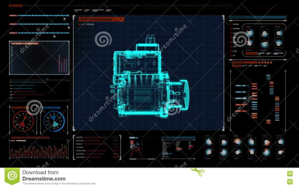 medium resolution of automobile technology making engine parts gathered x ray top view in digital display panel user interface