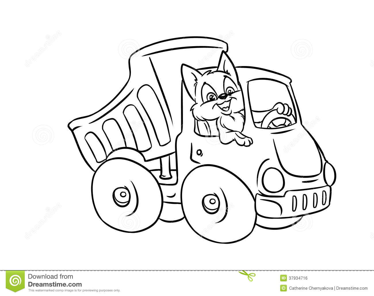 Automobile Truck Cat Driver Coloring Pages Stock