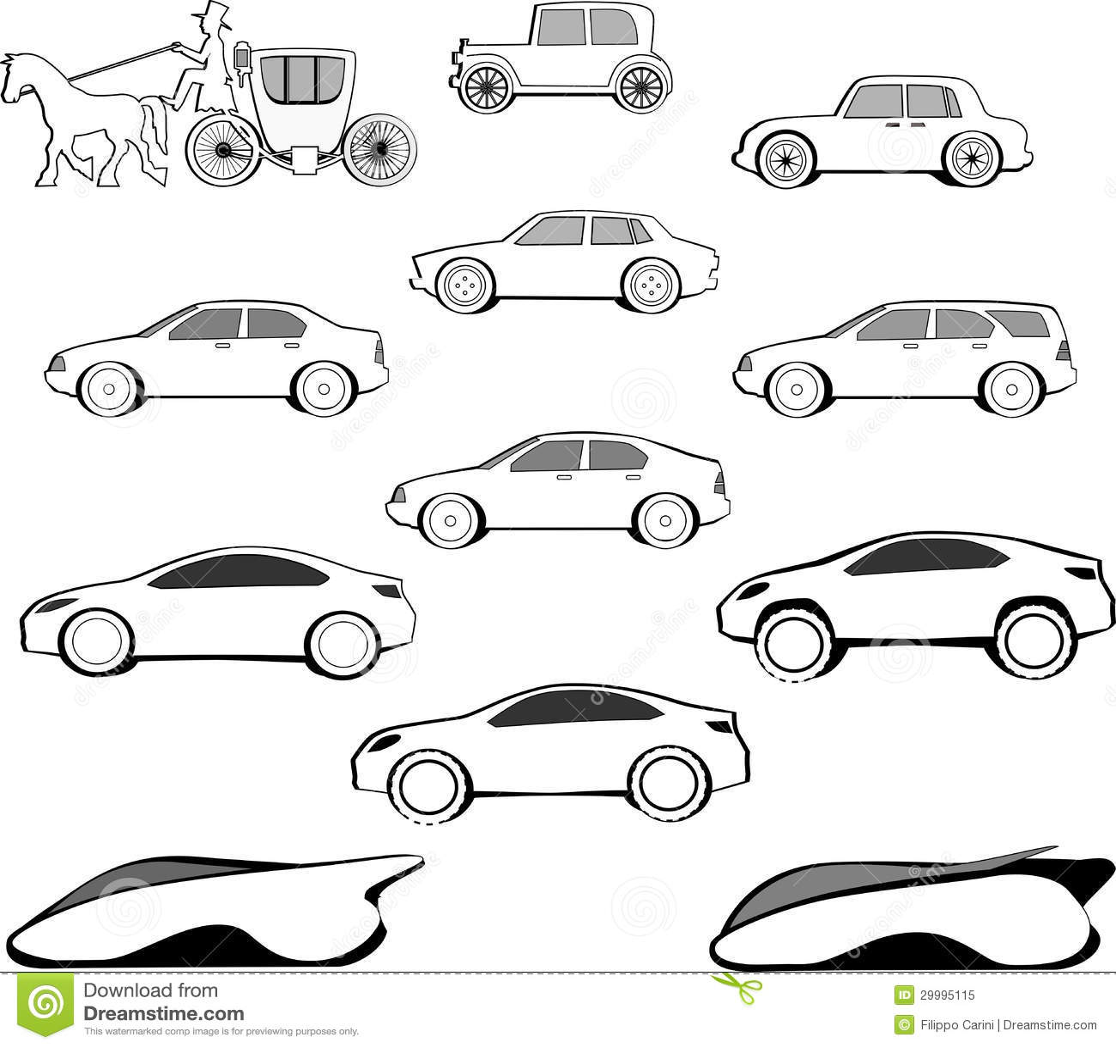 Jahrhundert Auto Entwicklung Stock Abbildung