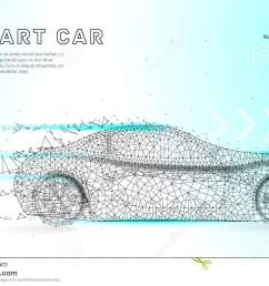 smart or intelligent car sport car with polygon line on abstract background polygonal space low poly with connecting dots and lines connection structure  [ 1300 x 893 Pixel ]