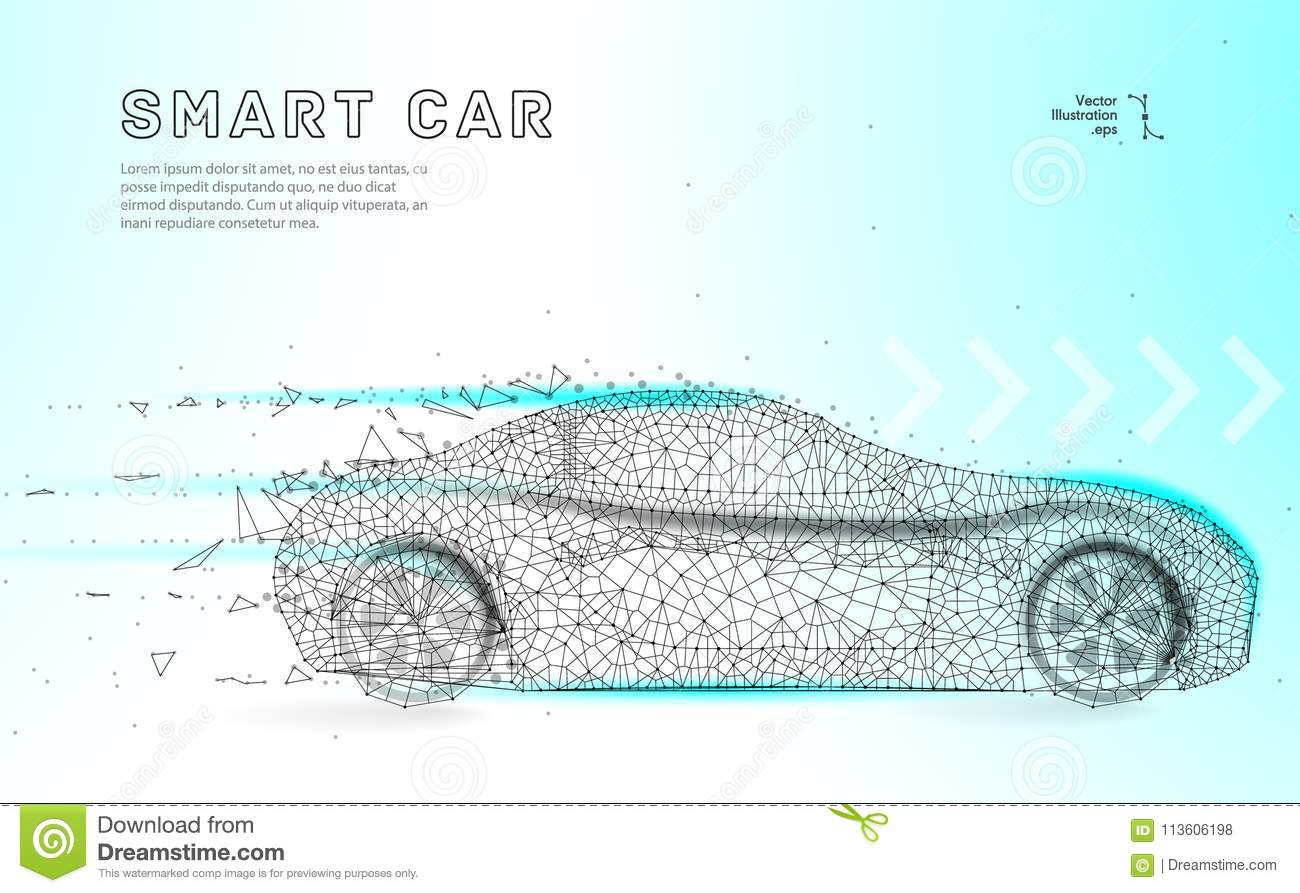 hight resolution of smart or intelligent car sport car with polygon line on abstract background polygonal space low poly with connecting dots and lines connection structure