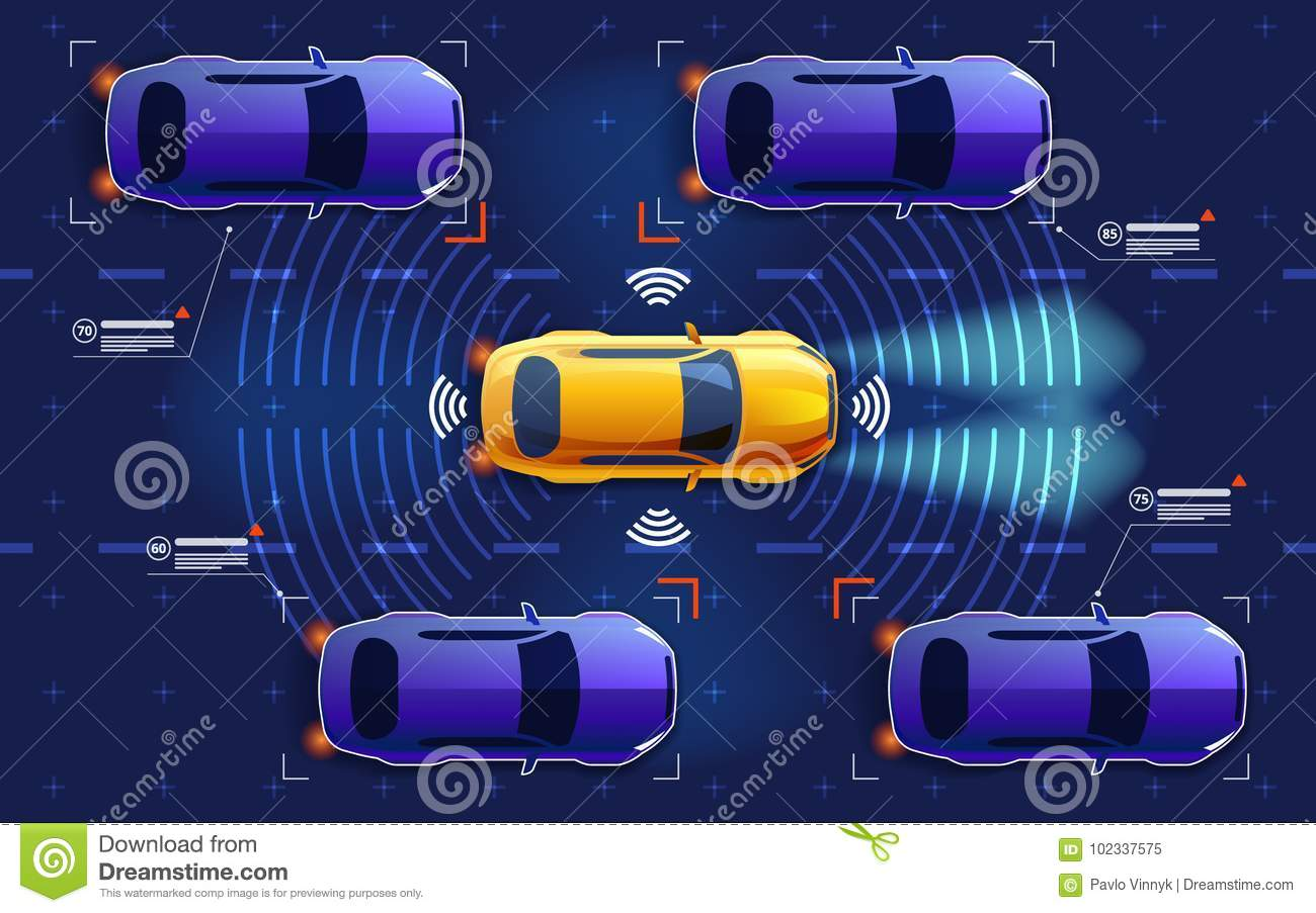 hight resolution of autonomous electro smart car goes on the road in traffic scans the road observe the distance future concept