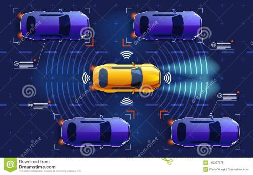 small resolution of autonomous electro smart car goes on the road in traffic scans the road observe the distance future concept