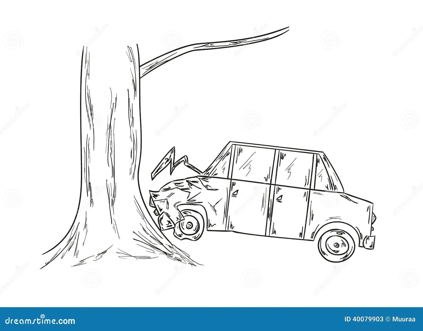 Autounfallskizze Vektor Abbildung