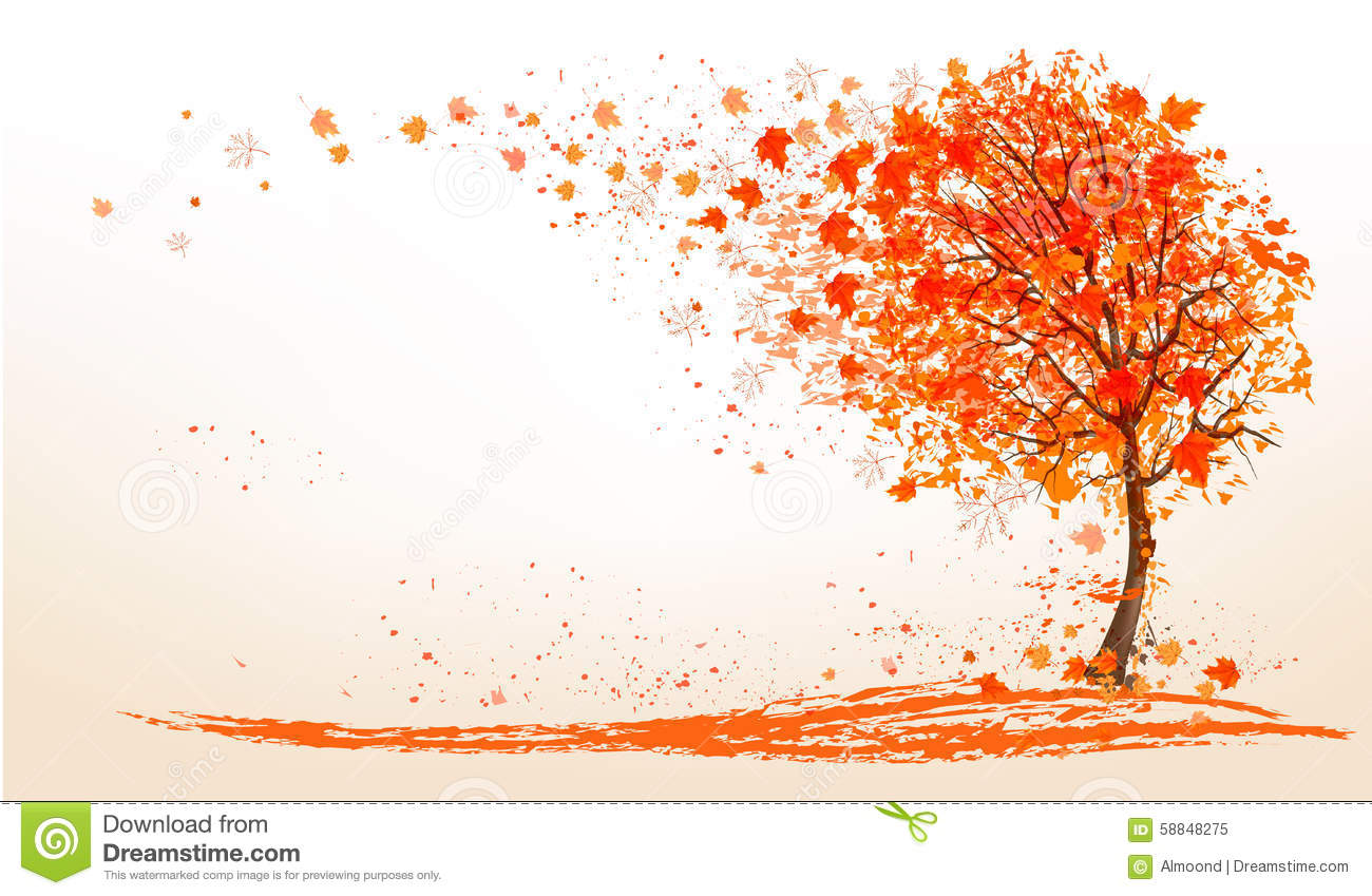 Fall Leaves Wallpaper Autumn Background With A Tree And Golden Leaves Stock