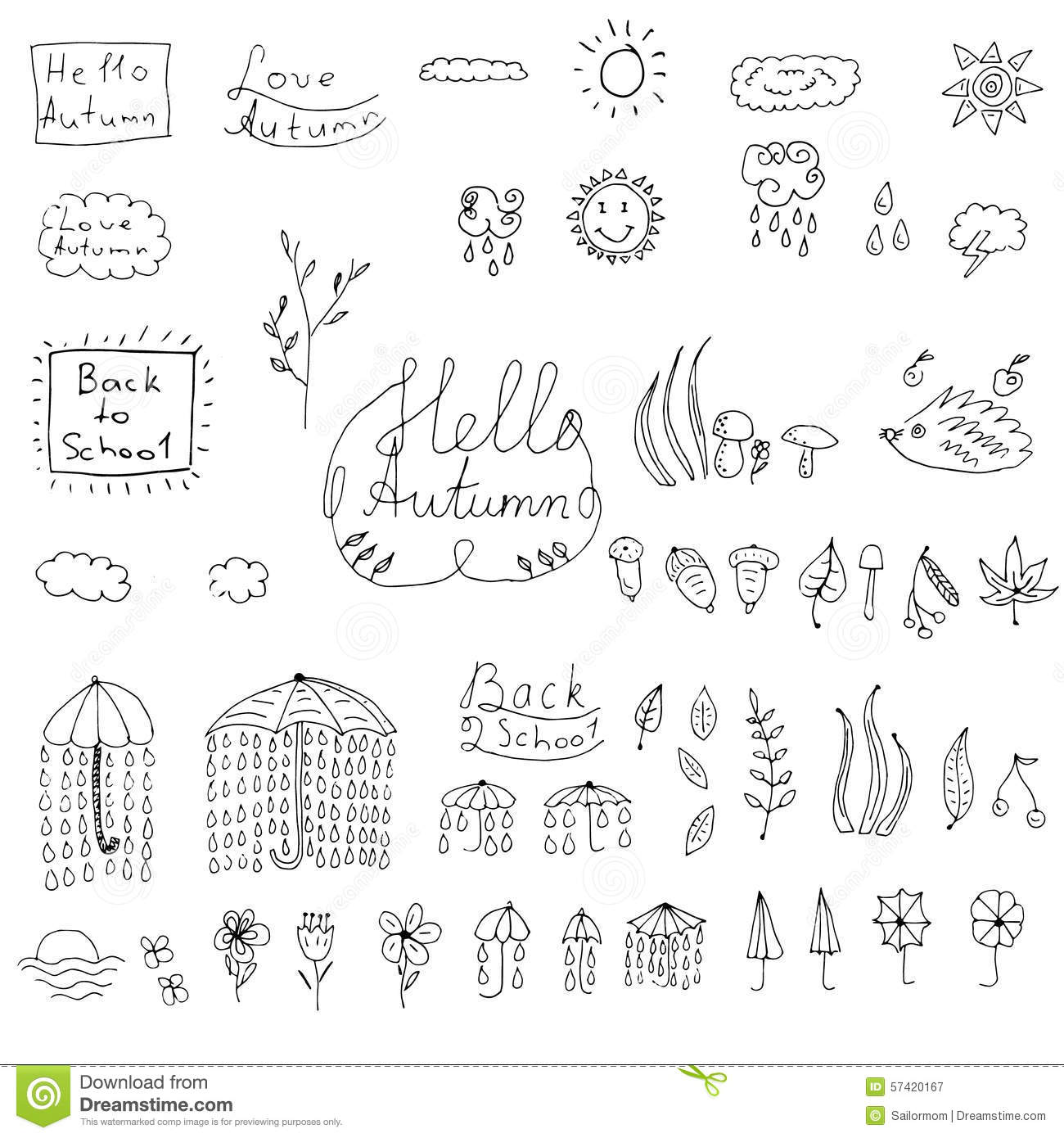 Autumn Doodle Weather Collection Stock Vector