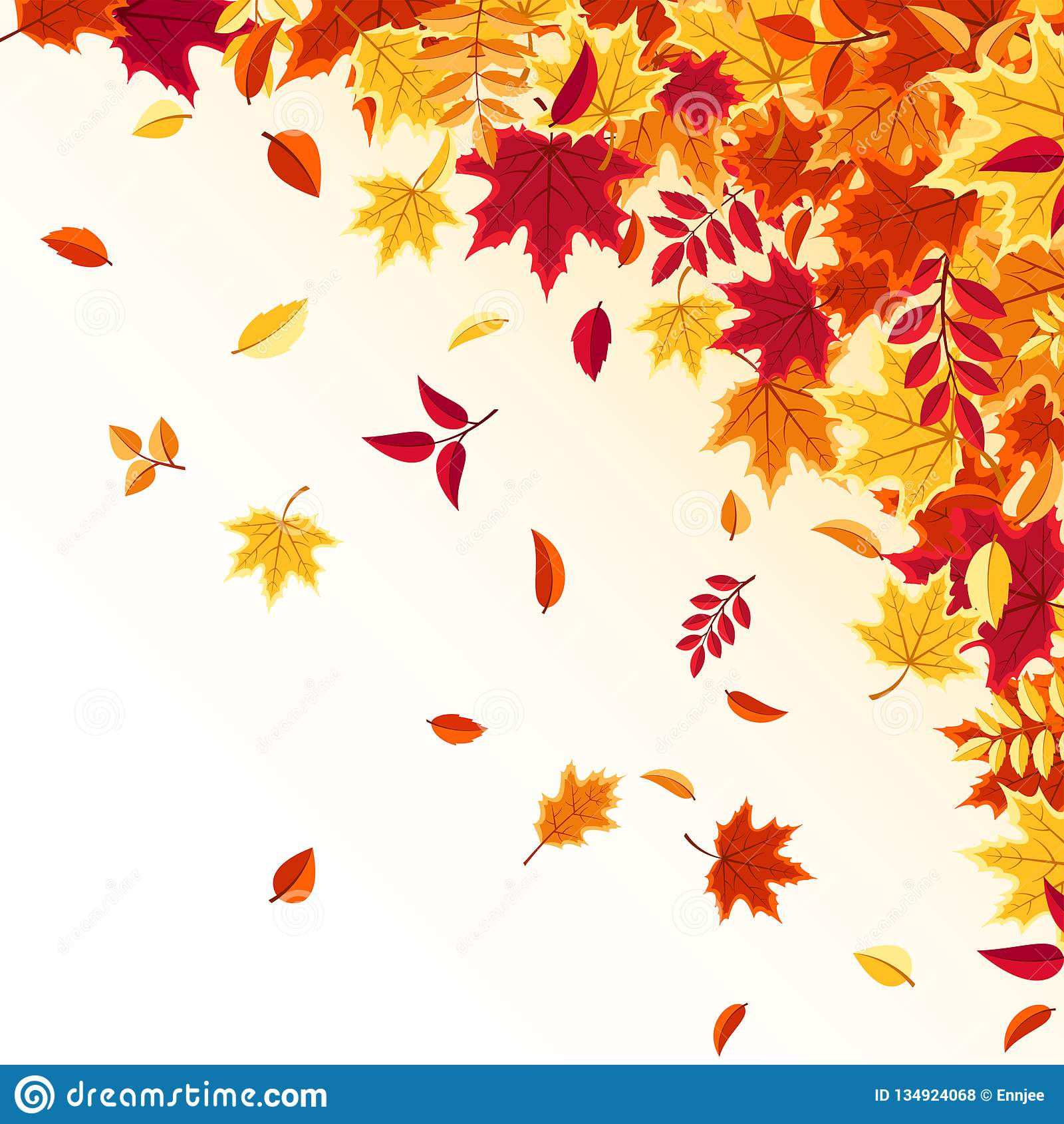 Autumn Falling Leaves Nature Background With Red Orange