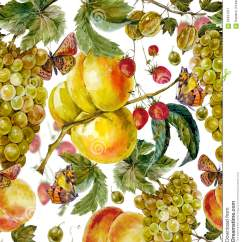Strawberry Fruit Diagram 2000 Ford Truck Radio Wiring Autumn Harvest Watercolor Seamless Pattern Stock