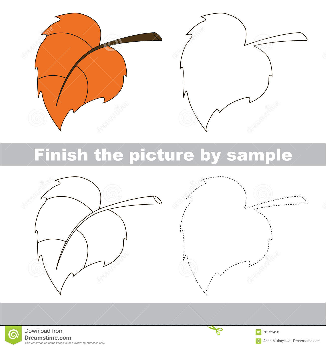 Autumn Leaf Drawing Worksheet Stock Vector
