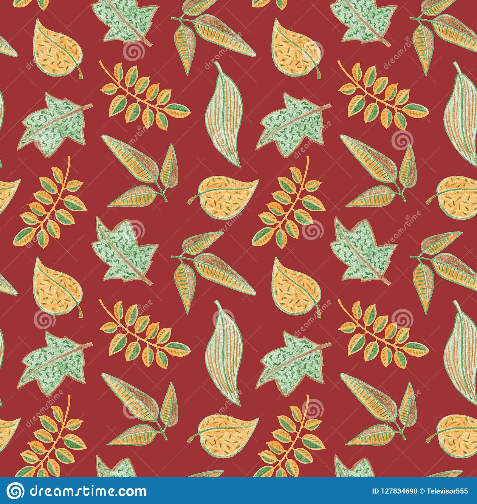 Autumn Leaf Floral Seamless Pattern Yellow Green Leaf On