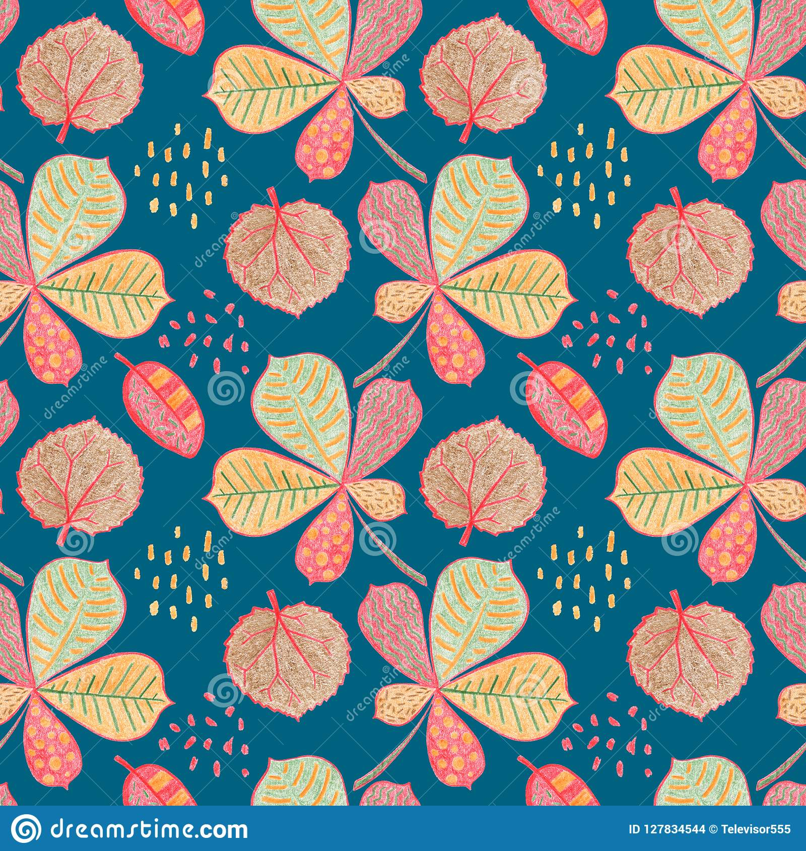 Autumn Leaf Floral Seamless Pattern Yellow Red Leaves On
