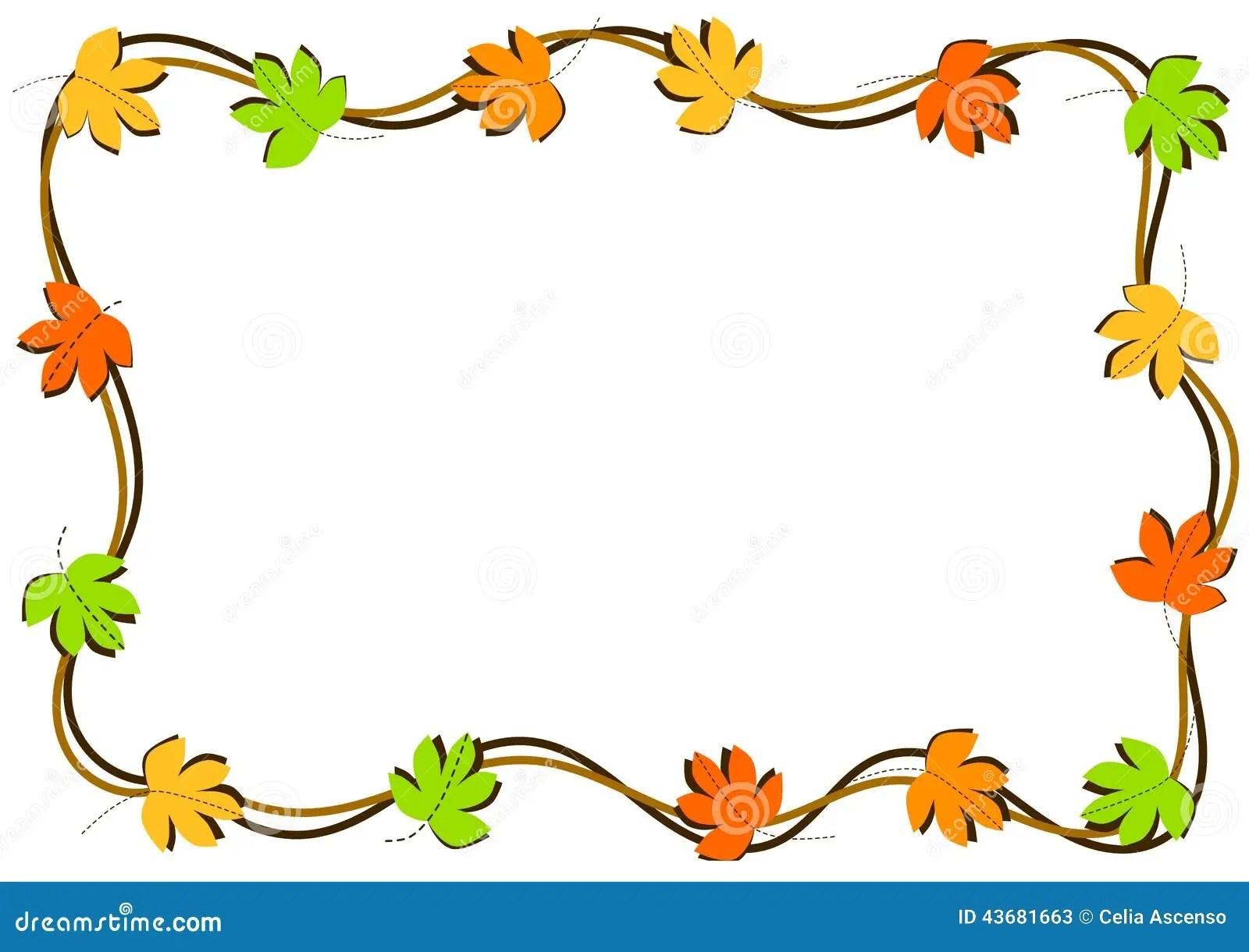 Design Love Fest Wallpaper Fall Autumn Leaves Border Frame Stock Illustration Image Of
