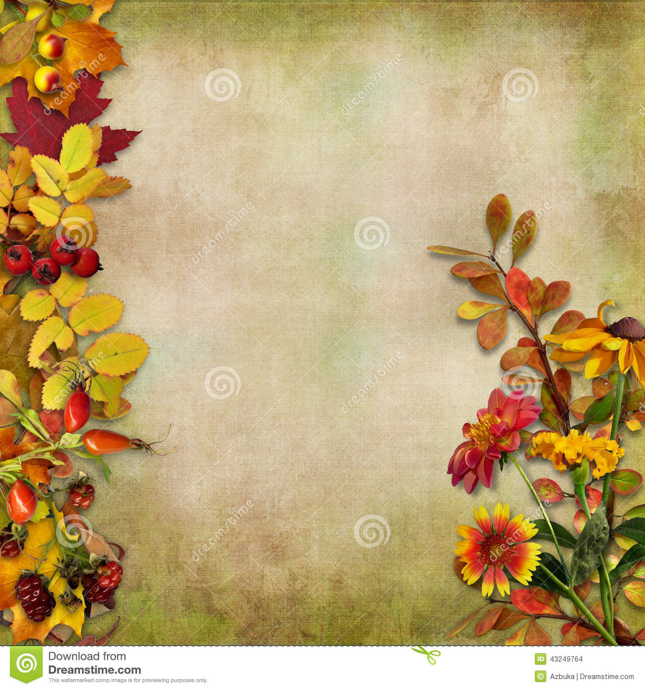 Fall Leaves Wallpaper Border Autumn Leaves Flowers And Berries On A Vintage Background
