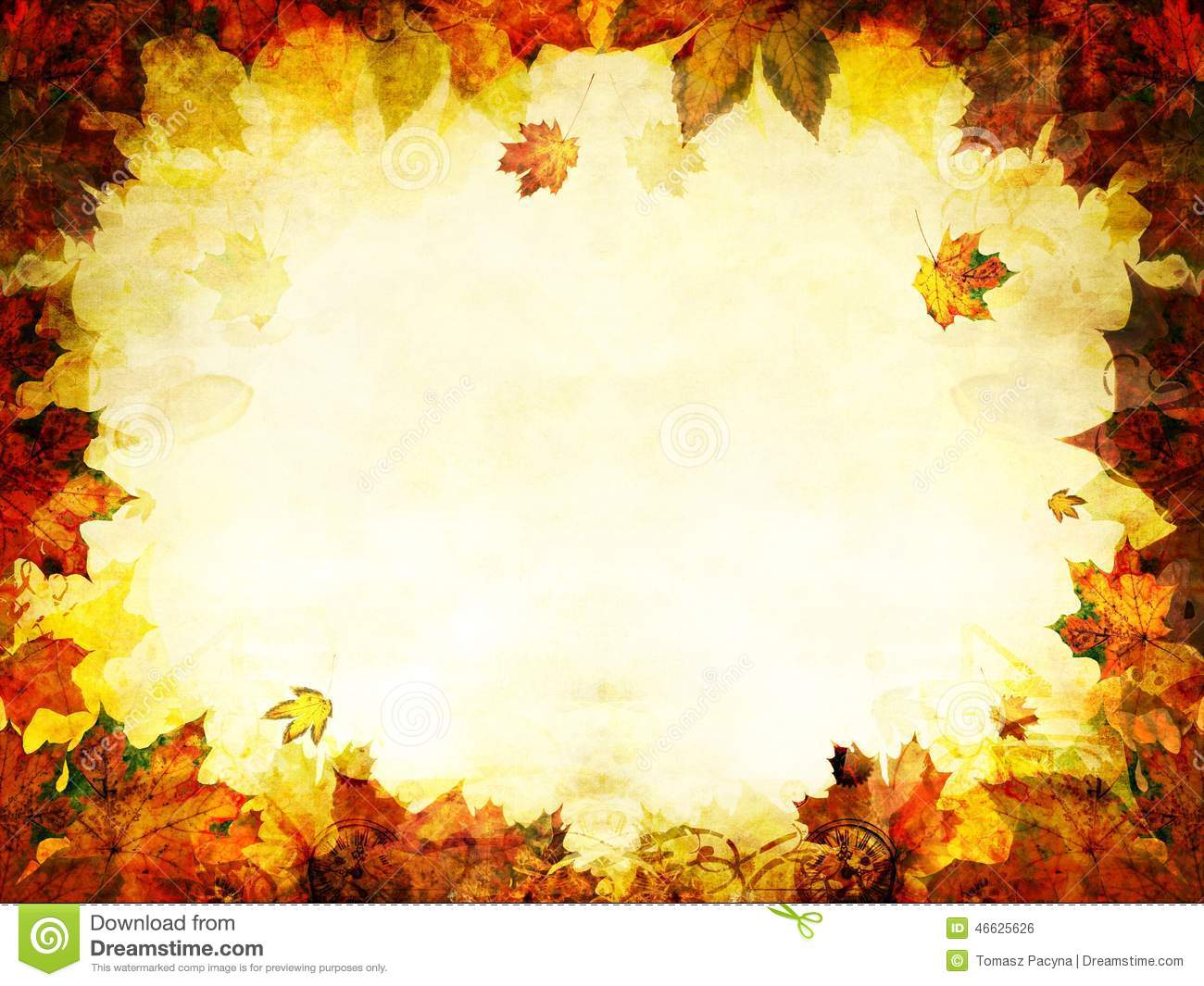 Hd Wallpaper Texture Fall Harvest Autumn Leaves Golden Frame Background Stock Photo Image