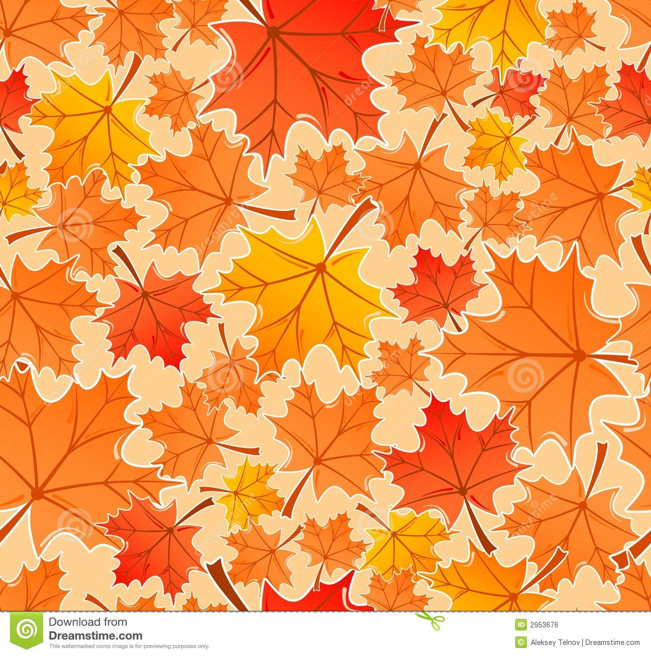 Fall Maple Leaf Tiled Wallpaper Autumn Leaves Seamless Pattern Stock Vector Illustration
