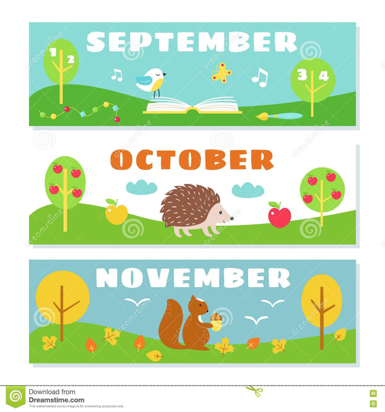 Autumn Months Calendar Flashcards Set Stock Illustratie