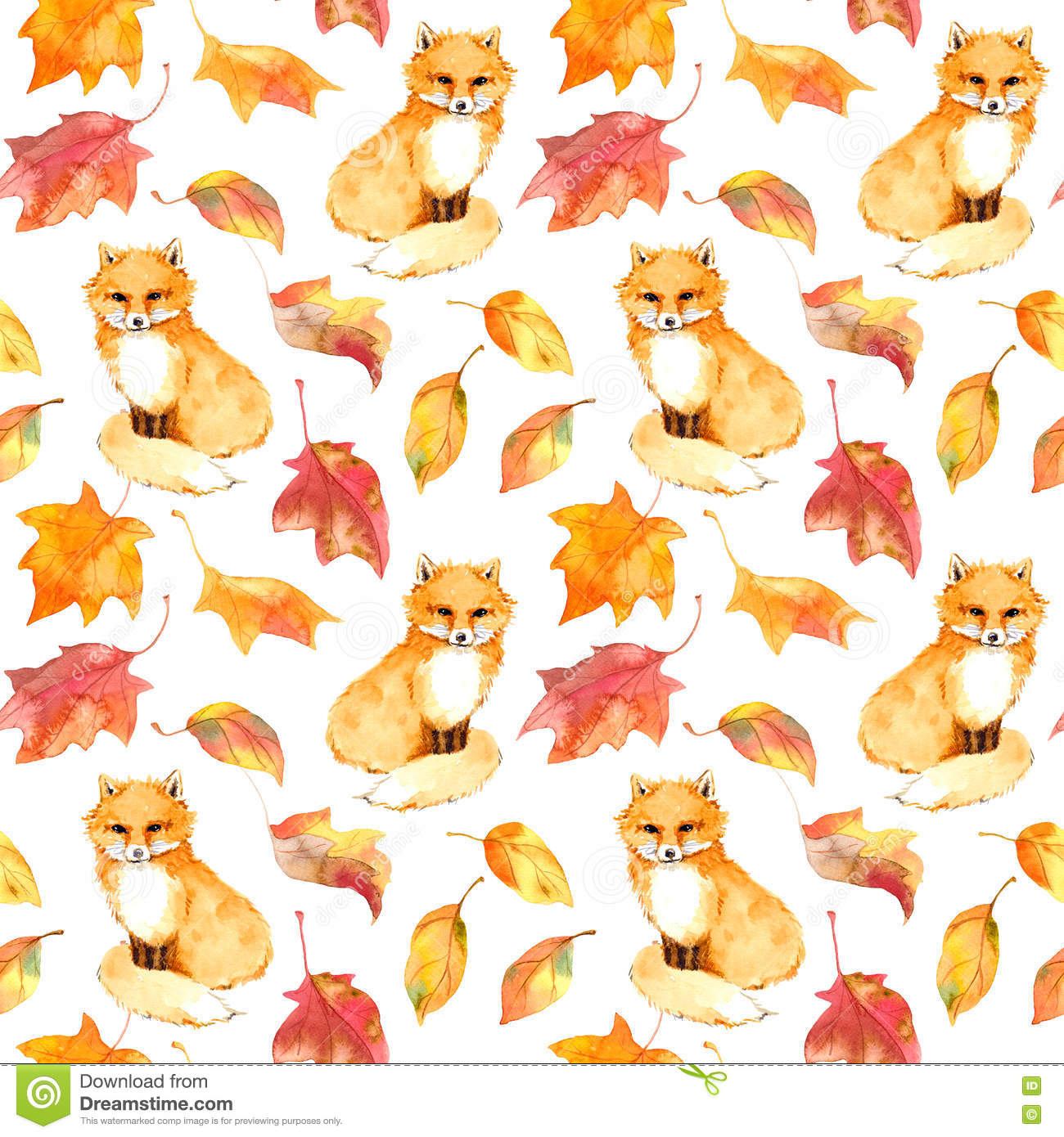 Cell Wallpaper Hd Illustration Fall Autumn Pattern Cute Fox Animal Red Leaves Seamless