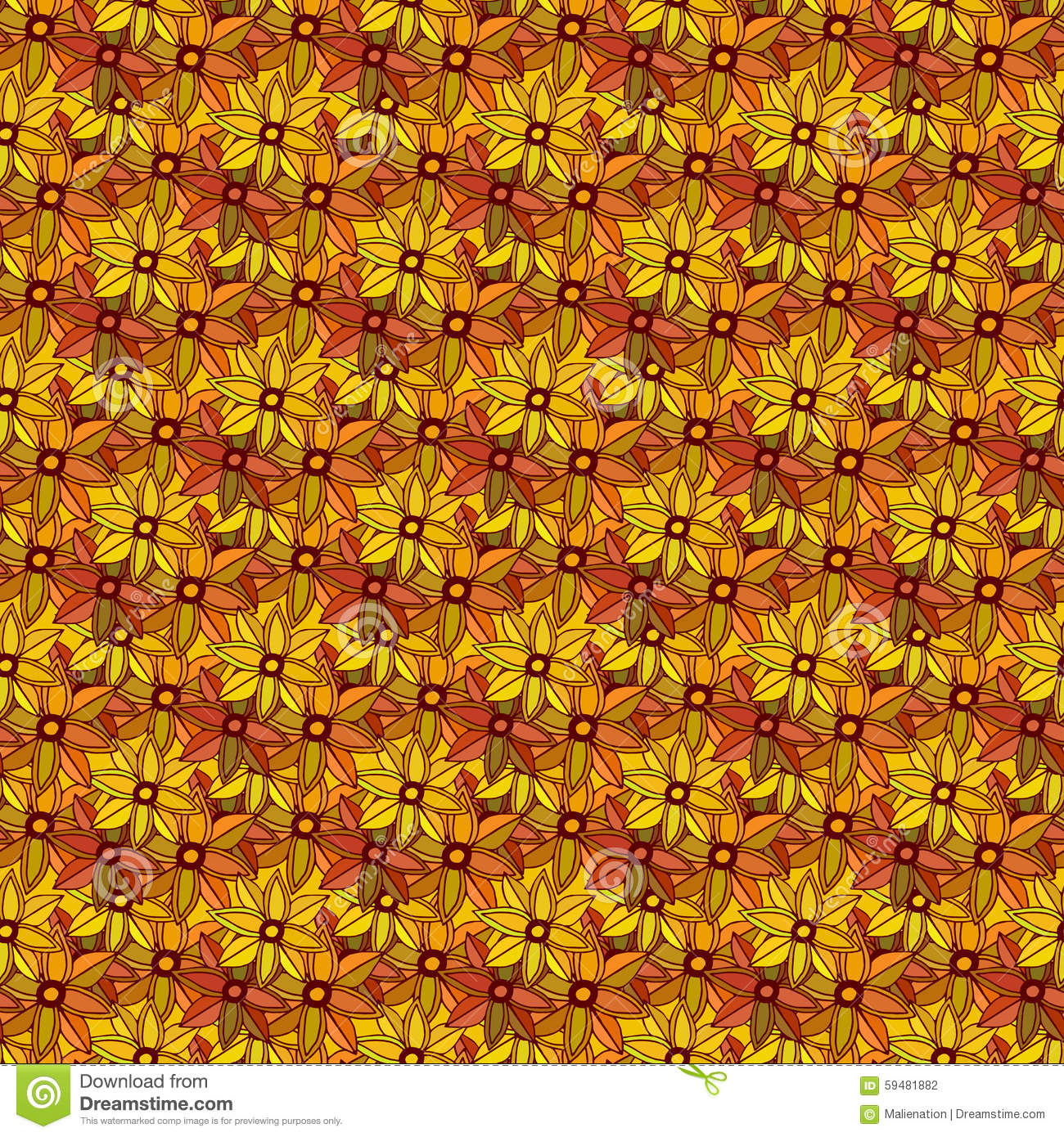 Vector Wallpaper Fall Colors Autumn Seamless Pattern With Cute Small Flowers Stock