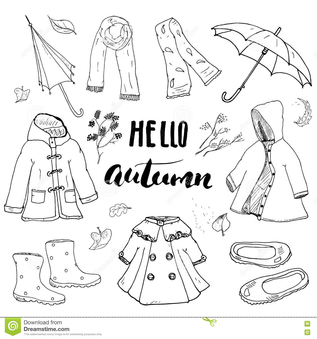 Autumn Season Clothes Set Hand Drawn Doodles And