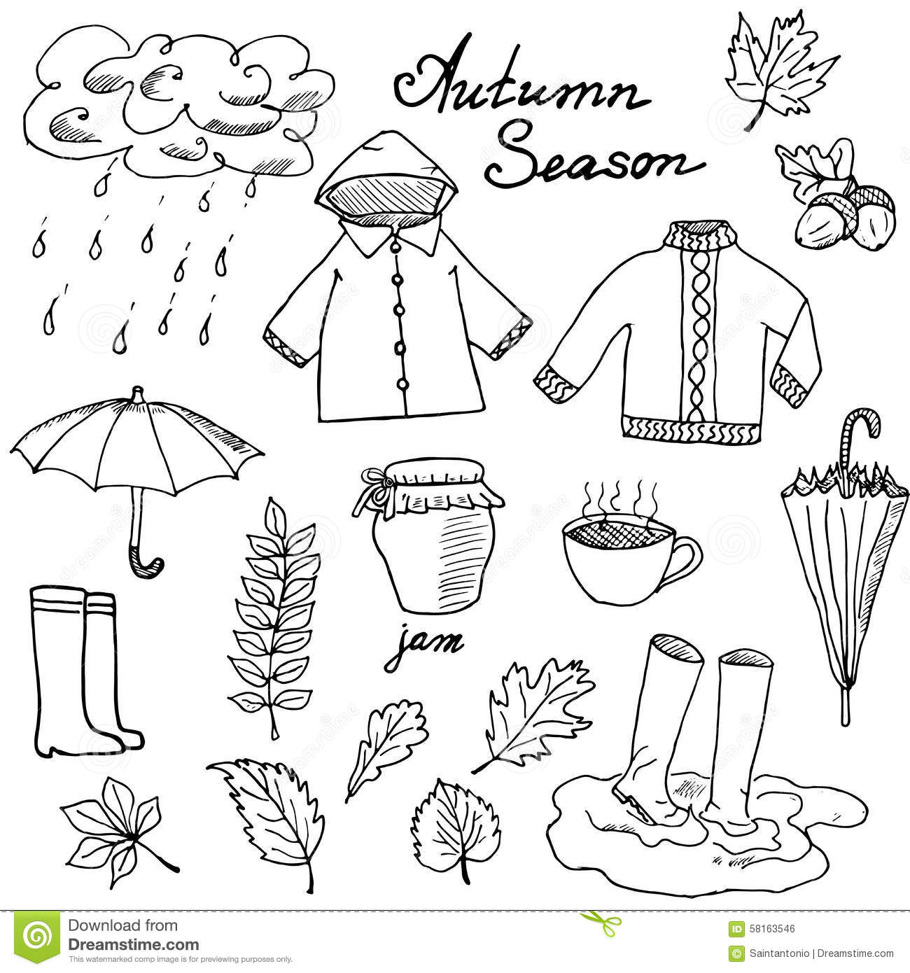 Autumn Season Set Doodles Elements Hand Drawn Set With
