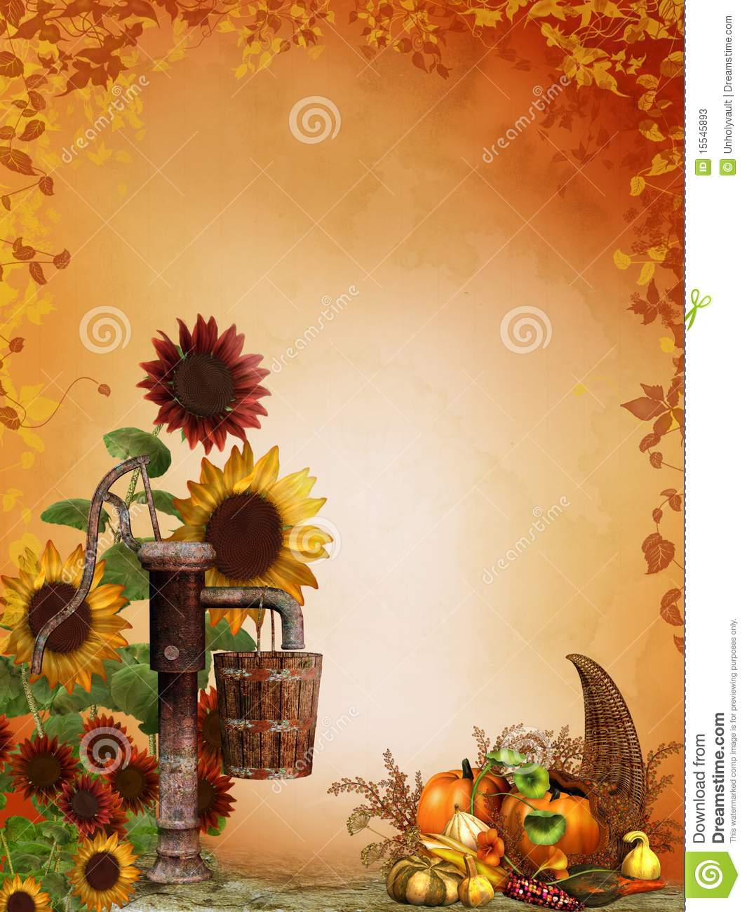 Fall Pumpkin Desktop Wallpaper Free Autumn Sunflowers With Cornucopia Stock Photos Image