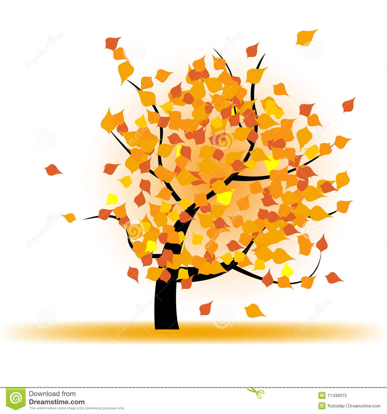 Autumn Tree Leaf Fall Animated Wallpaper Autumn Tree With Falling Leaves Stock Vector
