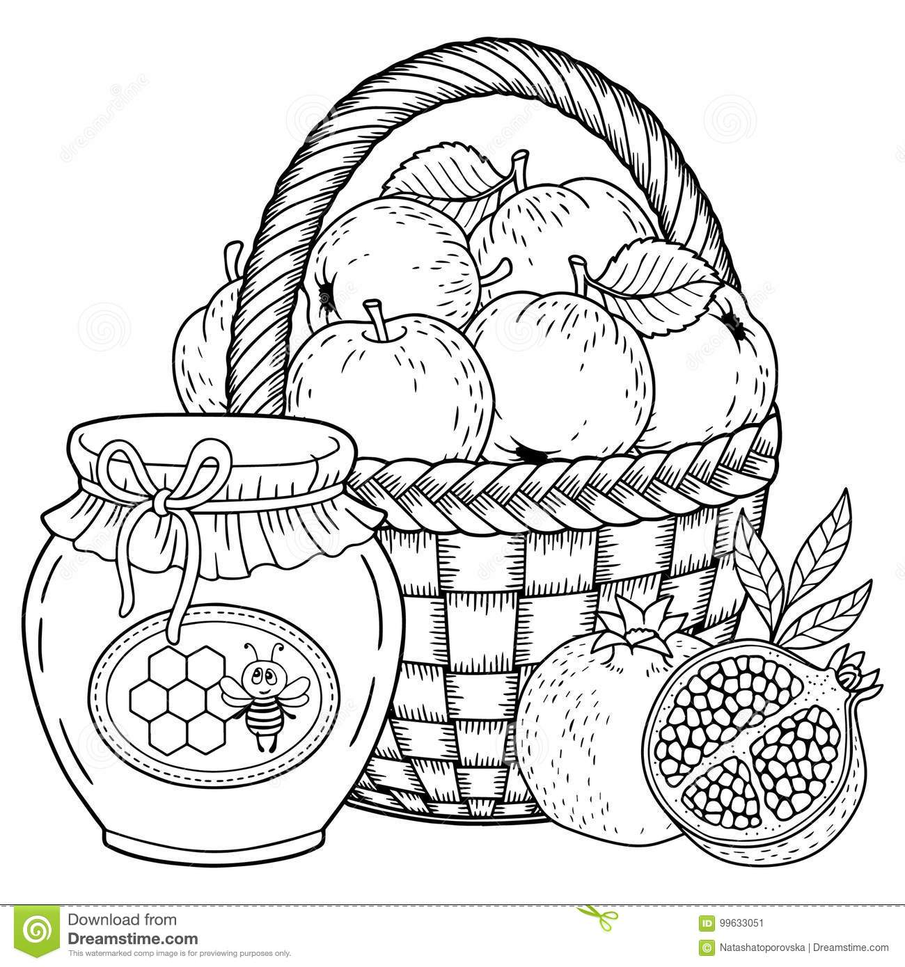 Autumn Vector Coloring Page For Adults Black And White